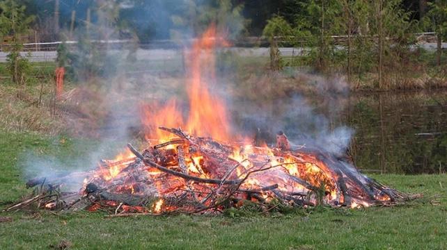 Fire burning in field